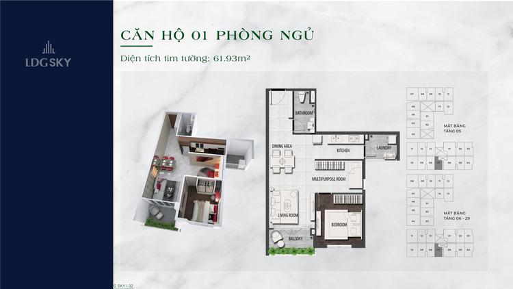 Layout thiết kế căn hộ 1 phòng ngủ 62m2 dự án LDG Sky Dĩ An Bình Dương
