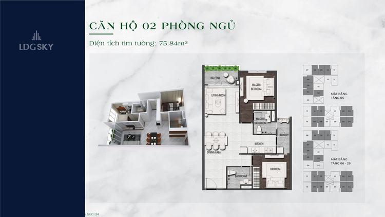Layout thiết kế căn hộ 2 phòng ngủ 75.84m2 dự án LDG Sky Dĩ An Bình Dương