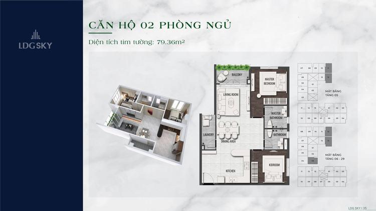Layout thiết kế căn hộ 2 phòng ngủ 79.36m2 dự án LDG Sky Dĩ An Bình Dương