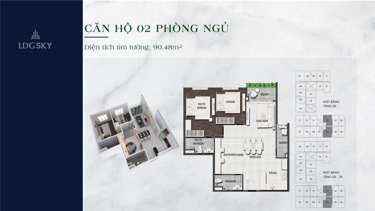 Layout thiết kế căn hộ 2 phòng ngủ 90.48m2 dự án LDG Sky Dĩ An Bình Dương