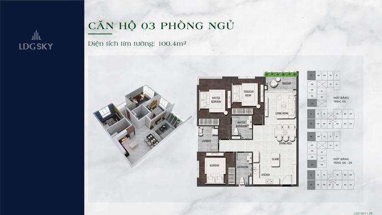 Layout thiết kế căn hộ 2 phòng ngủ 100.4m2 dự án LDG Sky Dĩ An Bình Dương