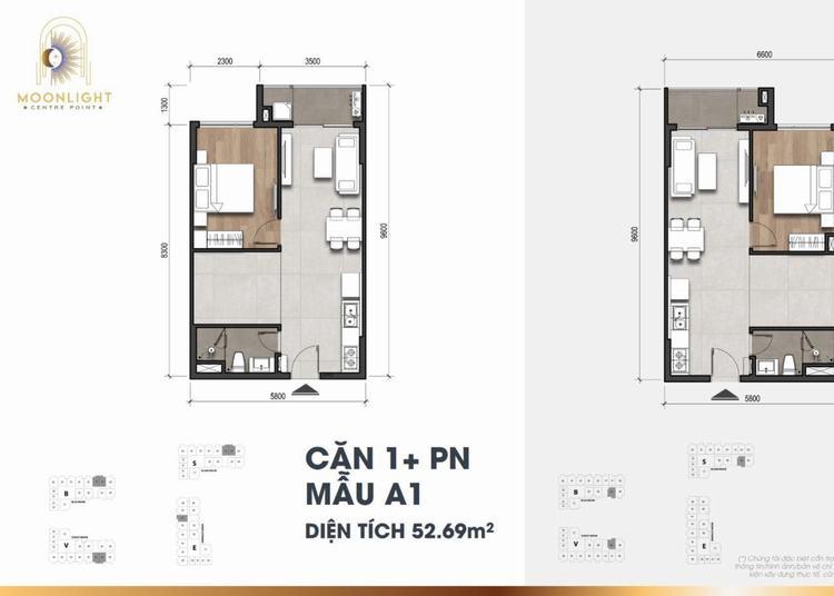 Mặt bằng căn hộ 1+ PN dự án Moonlight Centre Point