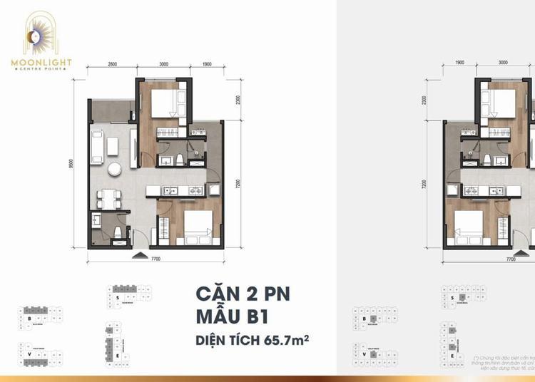 Mặt bằng căn hộ 2 PN dự án Moonlight Centre Point
