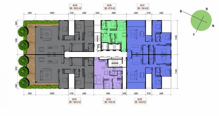 Mặt bằng thiết kế Block A2 tầng 16 đến 19 - Opal Riverside