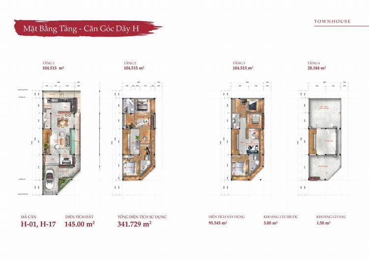 Mặt bằng thiết kế vị trí gốc nhà phố (Town House) tại dự án Takara Residence