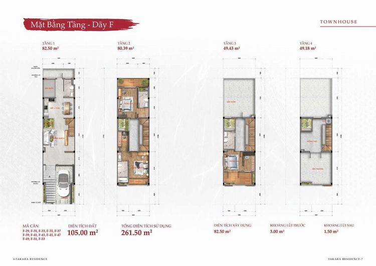Mặt bằng thiết kế nhà phố (Town House) tại dự án Takara Residence