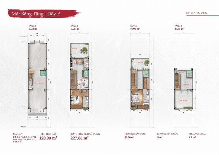 Mặt bằng thiết kế nhà phố thương mại (Shophouse) dự án Takara Residence