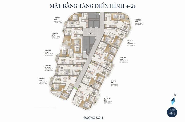 Mặt bằng tầng 4 – 21 Dự án The Aston Luxury Residence Nha Trang