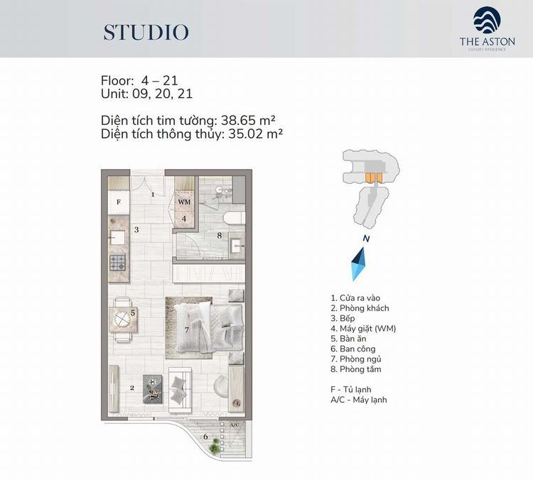 Thiết kế căn hộ Studio - The Aston Nha Trang