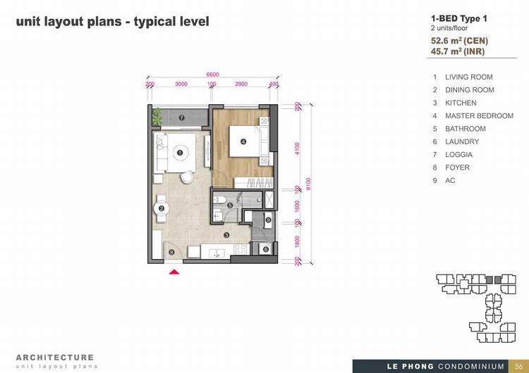 Thiết kế căn hộ 1 phòng ngủ + 1 Toilet 52,6m2 - The Emerald Golf View