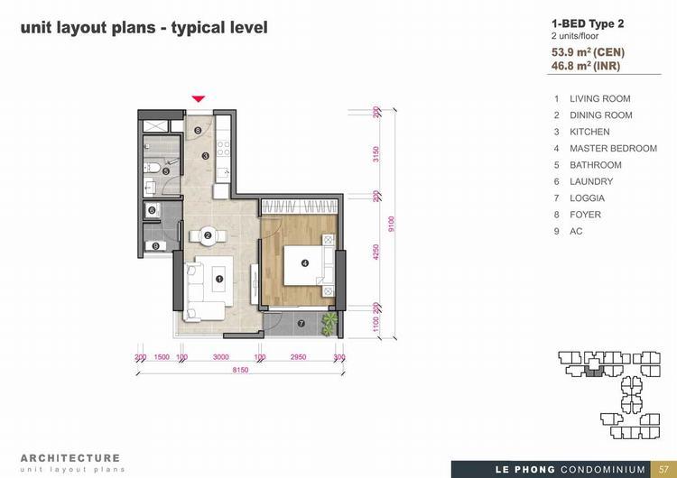 Thiết kế căn hộ 1 phòng ngủ + 1 Toilet 53,9m2 - The Emerald Golf View