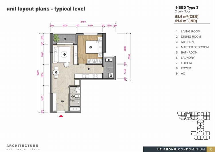 Thiết kế căn hộ 1 phòng ngủ + 1 Toilet 58,6m2 - The Emerald Golf View