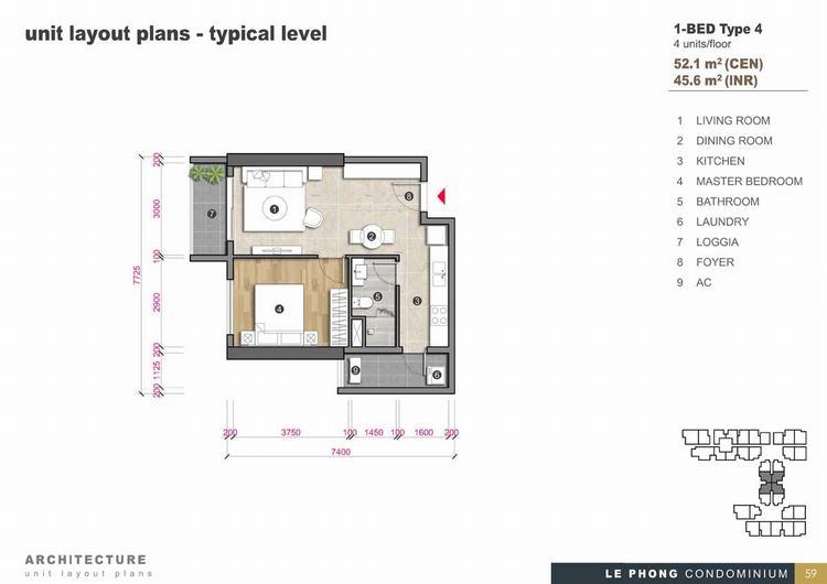 Thiết kế căn hộ 1 phòng ngủ + 1 Toilet 52,1m2 - The Emerald Golf View