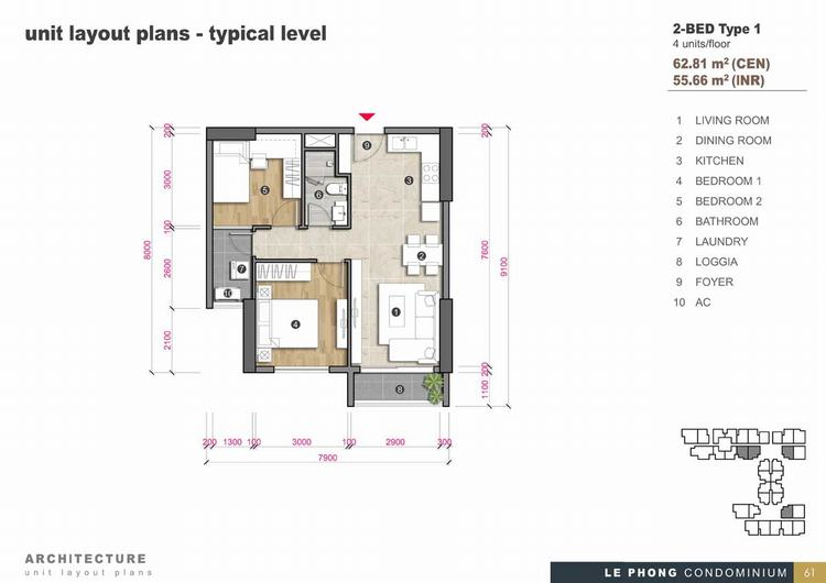 Thiết kế căn hộ 2 phòng ngủ + 1 Toilet 62,81m2 - The Emerald Golf View