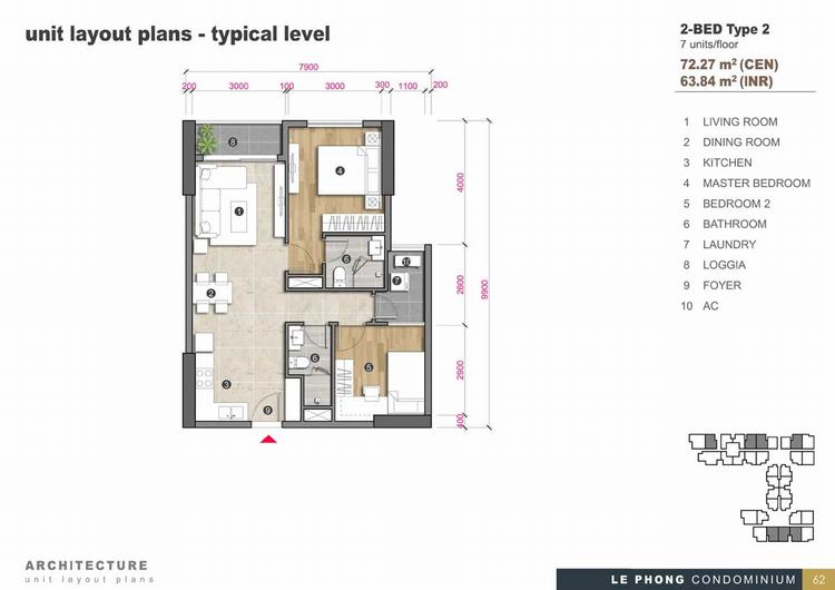 Thiết kế căn hộ 2 phòng ngủ + 2Toilet 72,27m2 - The Emerald Golf View
