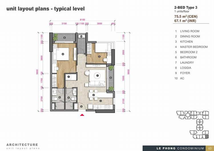 Thiết kế căn hộ 2 phòng ngủ + 2Toilet 75,5m2 - The Emerald Golf View
