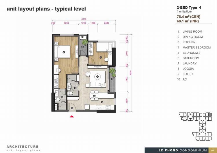 Thiết kế căn hộ 2 phòng ngủ + 2 Toilet 76,4m2 - The Emerald Golf View