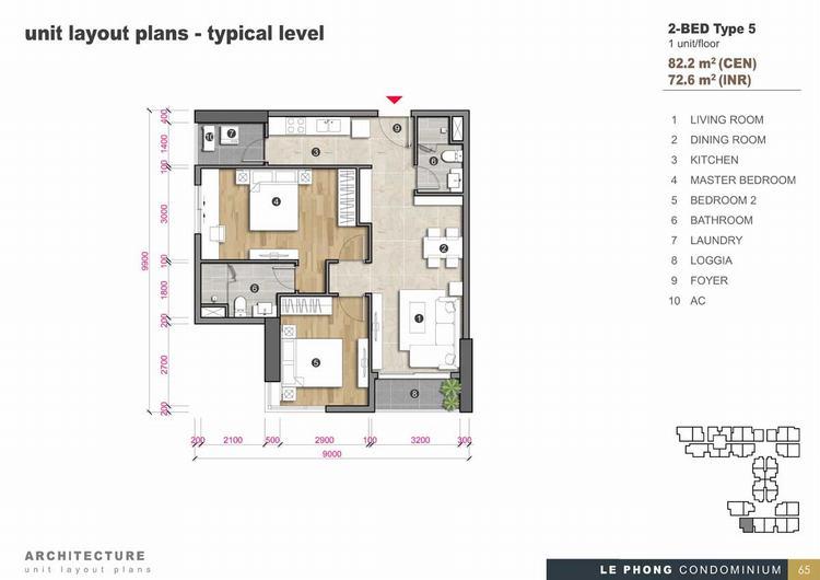 Thiết kế căn hộ 2 phòng ngủ + 2 Toilet 82,2m2 - The Emerald Golf View