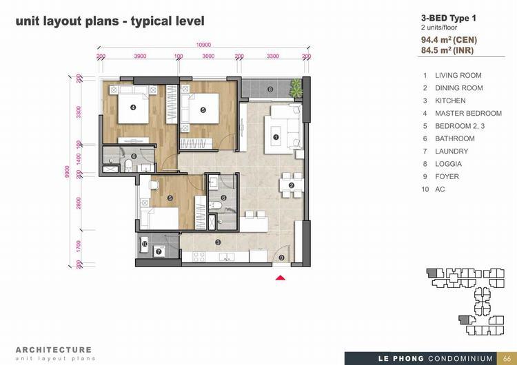 Thiết kế căn hộ 3 phòng ngủ + 2 Toilet 94,4m2 - The Emerald Golf View