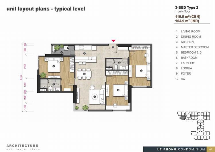 Thiết kế căn hộ 3 phòng ngủ + 2 Toilet 115,5m2 - The Emerald Golf View