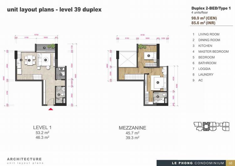 Thiết kế căn hộ Duplex 2phòng ngủ 98,9m2- The Emerald Golf View