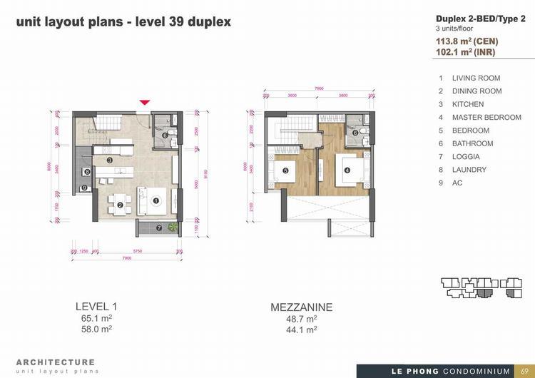Thiết kế căn hộ Duplex 2 phòng ngủ 113,8m2 - The Emerald Golf View