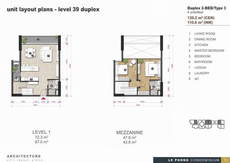 Thiết kế căn hộ Duplex 2 phòng ngủ 120,2m2 - The Emerald Golf View