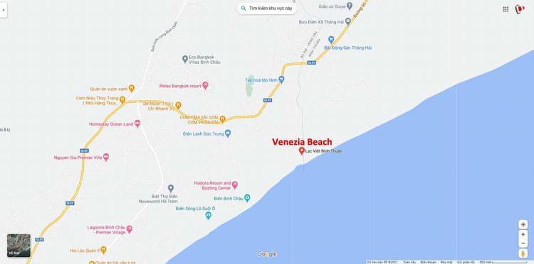 Vị trí dự án Venezia Beach Bình Thuận (Google Maps)